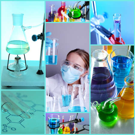 chemistry science: Chemistry concept. Lab Collage Stock Photo