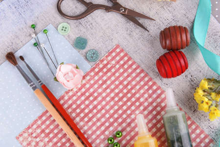 crimping: Scrapbooking craft materials on bright background Stock Photo