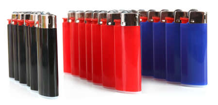 Colorful lighters isolated on white photo