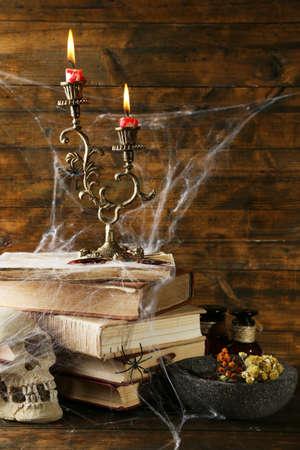 frightful: Frightful still life for Halloween, on wooden background