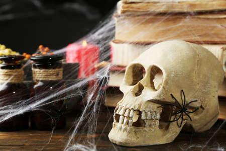 frightful: Frightful still life for Halloween, on dark background