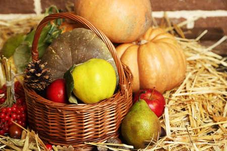 Beautiful autumn composition on straw photo