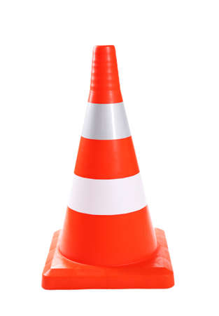 Traffic cone isolated on white photo