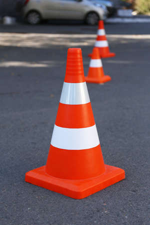 Traffic cone on road Stock Photo