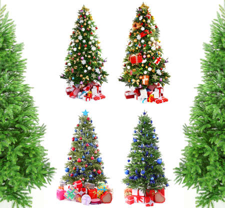 Christmas trees with gifts collage photo