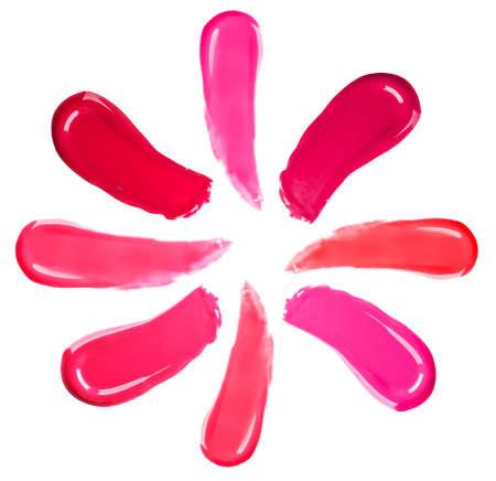 lapiz labial: Diferente labio glosas aislados en blanco