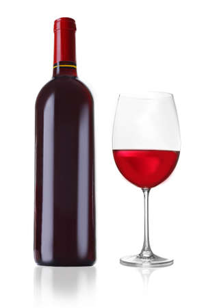 Bottle of great wine and glass isolated on white photo