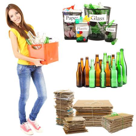 Recycling concept, geïsoleerd op wit Stockfoto
