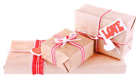Three gift boxes isolated on white photo