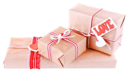 three gift boxes: Tres cajas de regalo aislados en blanco  Foto de archivo