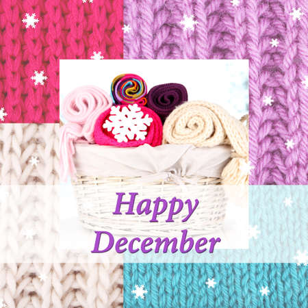 Happy December written on colorful knitted background photo