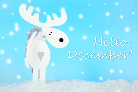 december: Hello December, greeting card Stock Photo