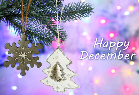 december: Diciembre, tarjeta de felicitaci�n feliz