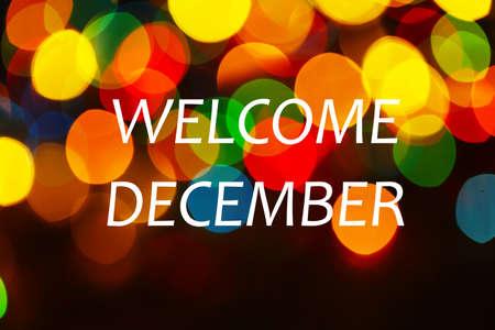 december: Welcome December, greeting card
