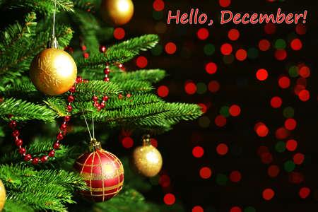 december: Hello December greeting card