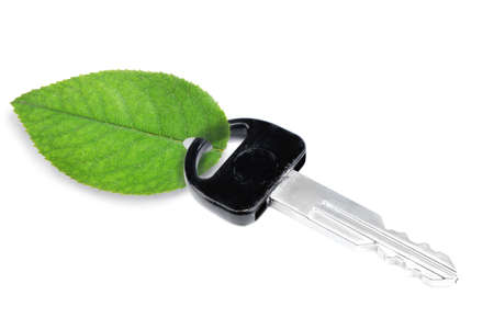 trinket: Car key with green leaf trinket isolated on white