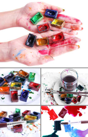 Collage of watercolor paints photo