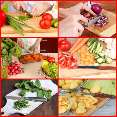 Collage of cutting different vegetables photo
