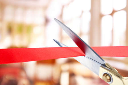 cut: Grand opening, cutting red ribbon