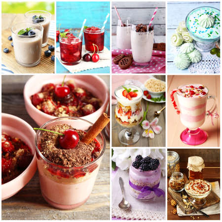 Delicious desserts collage Stock Photo