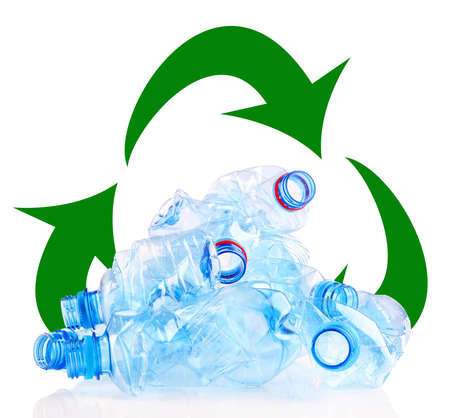 biodegradable material: Recycle concept, plastic bottles for recycle isolated on white