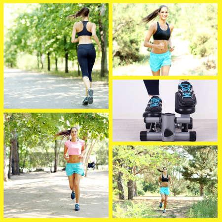 Sport collage. Running photo