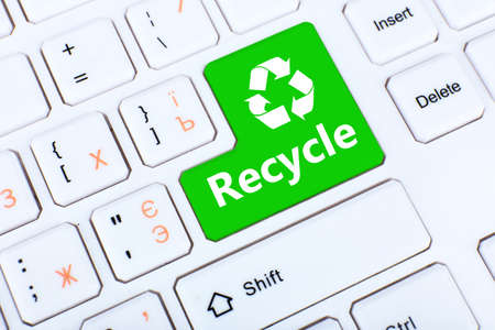 Close up of RECYCLE keyboard button Stock Photo