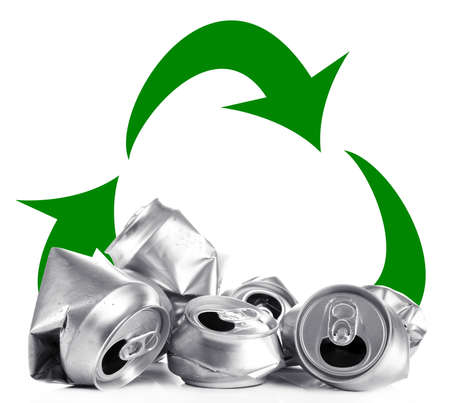 managing waste: Recycle concept, metal cans for recycle isolated on white