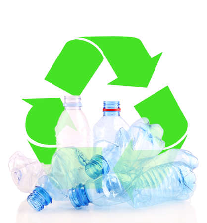 managing waste: Recycle concept, plastic bottles for recycle isolated on white
