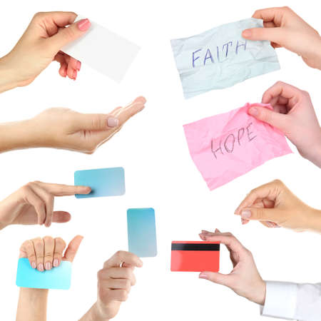 Collage of hands, hands holding empty business cards, credit card and cards with text isolated white photo