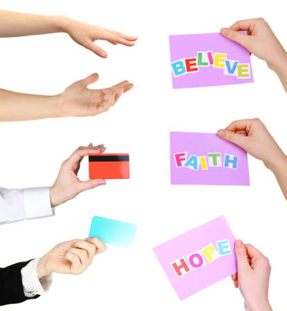Collage of hands, hands holding credit cards and cards with text isolated white photo
