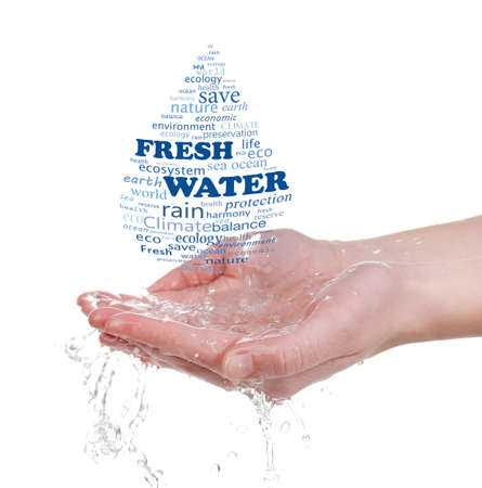Concept of worlds fresh water reserve, words in drop shape in hands isolated on white