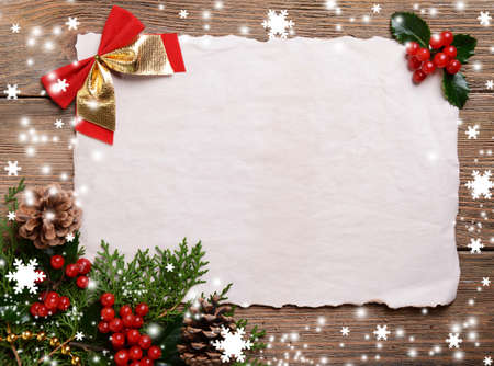 christmas cards: Christmas card on wooden background