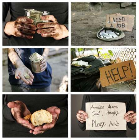 waster: Poverty concept. Homeless men ask for help collage