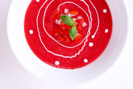 Gazpacho soup isolated on white photo