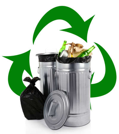 biodegradable material: Recycling bins isolated on white, Recycle concept Stock Photo