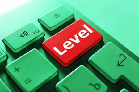 keyboard button: Close up of LEVEL keyboard button Stock Photo