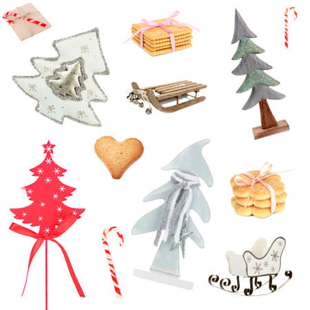 Christmas toys, cookies and candies as holiday background photo