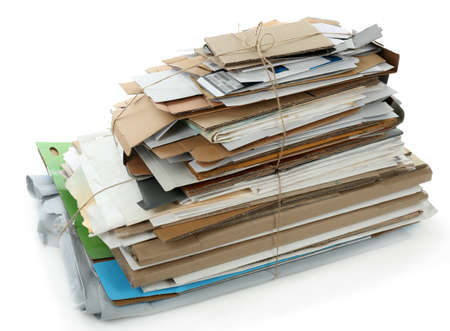 recycle: Big stack of papers, isolated on white