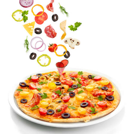 Tasty pizza and falling ingredients isolated on white