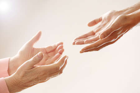 caring nurse: Helping hands, care for the elderly concept Stock Photo