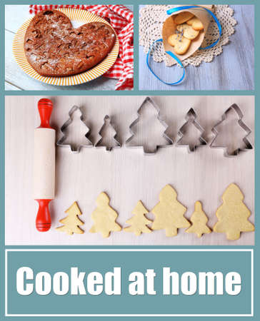 home baking: Home baking collage, Cooked at home concept