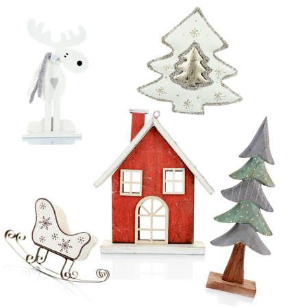 Christmas old-fashioned toys isolated on white photo
