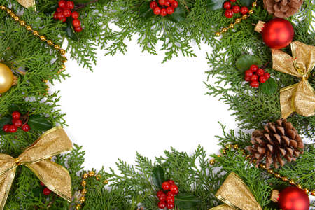 Beautiful Christmas border from fir and mistletoe on white background Stock Photo