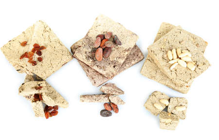 Assortment of sunflower halva isolated on  white background photo