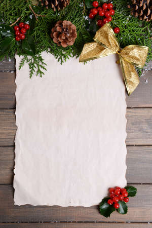 shit: Christmas decoration with paper shit on wooden background