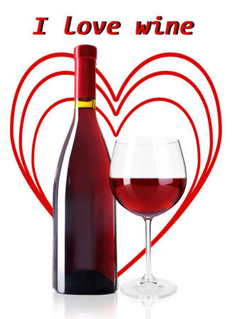 Bottle and glass of red wine with red hearts on background isolated on white photo