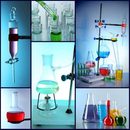 qu�mica: Concepto de la qu�mica. Collage Lab Foto de archivo
