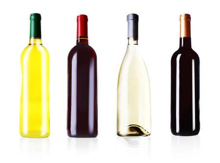 Bottles of wine isolated on white photo