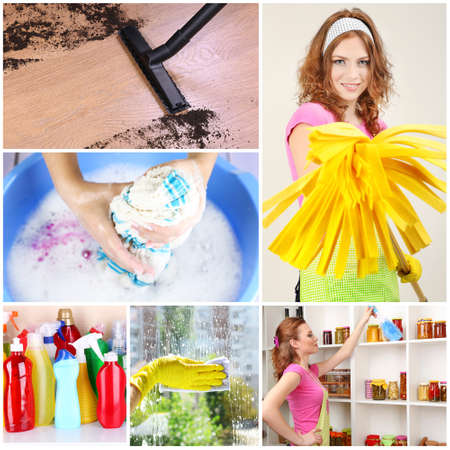 Young housewife with cleaning supplies and tools collage photo